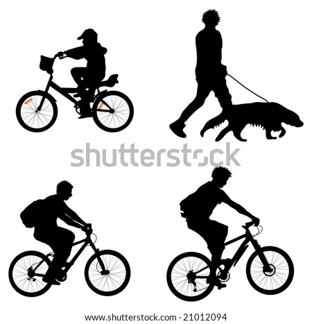 Outdoor recreation silhouettes (cyclists and man walking dog)
