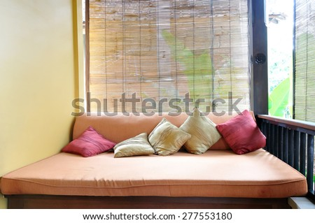 outdoor relaxing area in asian style - stock photo