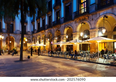 Outdoor restaurants at Placa Reial. Barcelona, Spain - stock photo