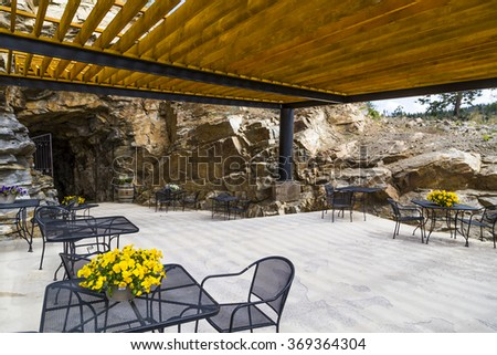 outdoor seating and eating area - stock photo