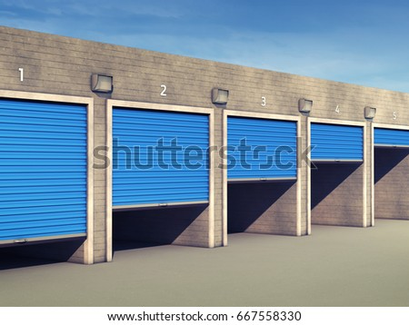 Outdoor self storage units , Storage rental facility , 3d illustration