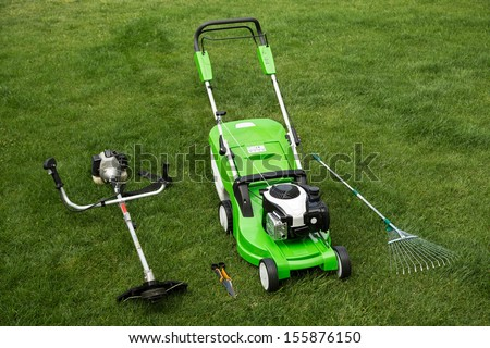 Outdoor shot of garden equipment - stock photo