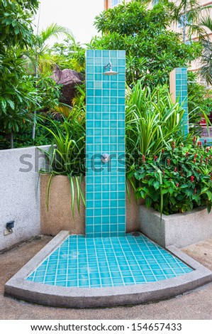 outdoor shower at swimming pool