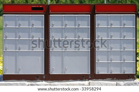 outdoor silver canadian mail box - stock photo