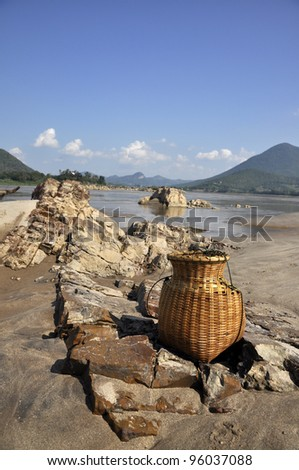 Outdoor Stone Nature Creel Sand River - stock photo