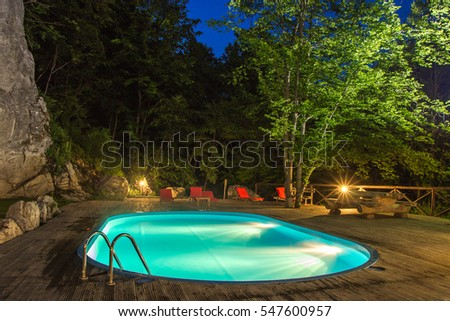 Outdoor swimming by night