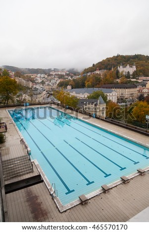 Outdoor swimming poll. Karlovy Vary, Czech Republic.