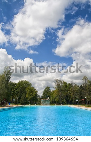 Outdoor swimming pool at Berekfurdo thermal spa, Hungary