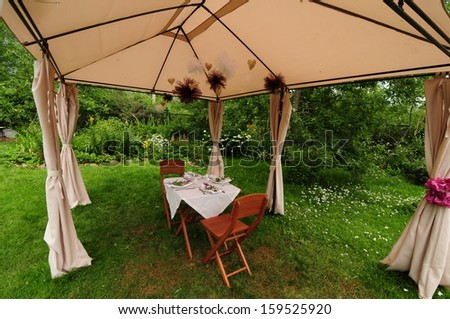 Outdoor table setting for the celebration