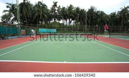 Outdoor tennis hard court - stock photo