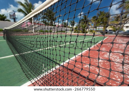 Outdoor tennis net at court with nobody  - stock photo