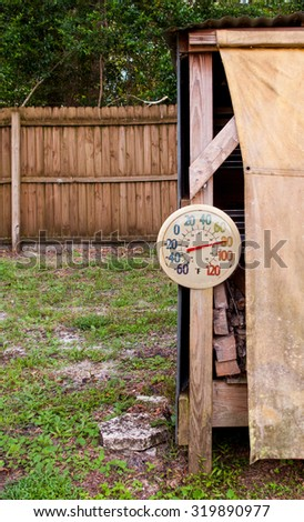 Outdoor thermometer on wood shed