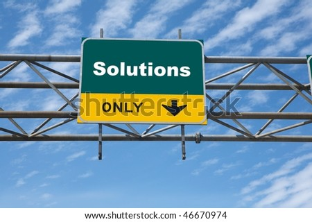 Outdoor traffic sign the word solutions on it - stock photo