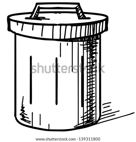 Outdoor trash bin icon. Hand drawing cartoon sketch illustration - stock photo