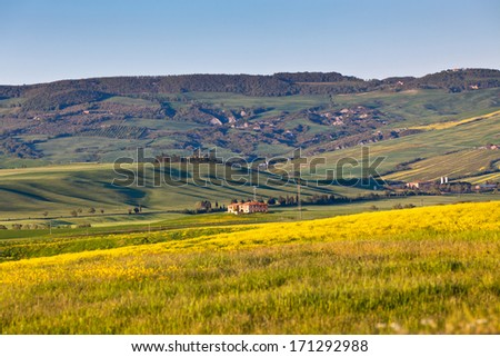 Outdoor Tuscan Val d Orcia green and yellow hills view with blue sky