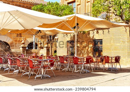 Outdoor view in one of  cozy cafe.Barcelona, Catalonia, Spain - stock photo