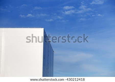 Outdoor view of a white faded store architecture - stock photo