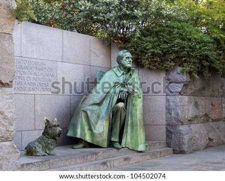 Outdoor view of Franklin Delano Roosevelt Memorial in Washington DC - stock photo