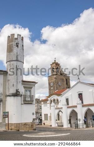 Outdoor view of the beautiful church of Matriz de Santa Maria da Feira located in Beja, Portugal. - stock photo
