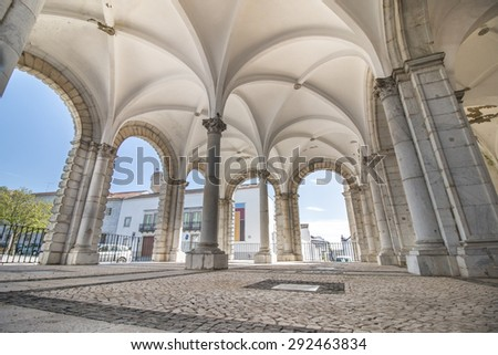 Outdoor view of the beautiful church of Misericordia in Beja, Portugal. - stock photo
