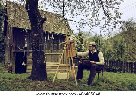 Outdoor Vintage Painter Painting on House Yard