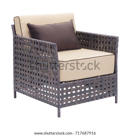 Outdoor Weave Chair Isolated On White Background. Patio Wicker Armchairs  With Beige Fabric Cushion Seat