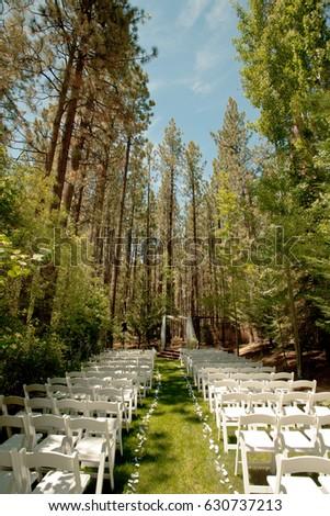 Outdoor Wedding Set Up In Woods