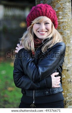 Outdoor Winter Portrait - stock photo