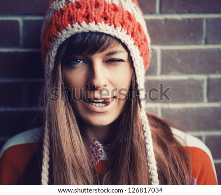 Outdoor winter portrait of young attractive teenage girl. - stock photo