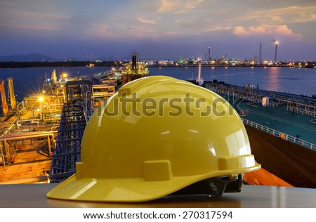 Outdoor work use Safety helmet for PORT petrochemical,Construction site. - stock photo