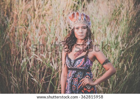 Outdoors fashion photo of asian girl beautiful bohemian lady - stock photo