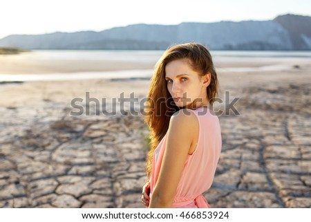 Outdoors lifestyle portrait of the beautiful girl,