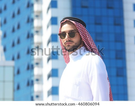 Outdoors portrait of a handsome arabian man