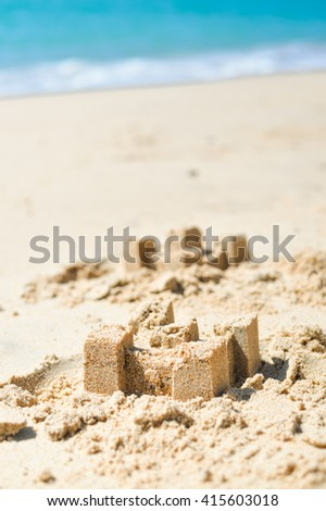 Outdoors ruins of the sand city, sunny background texture - stock photo