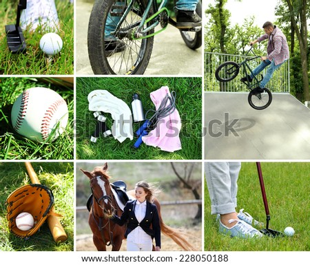 Outdoors sport collage - stock photo