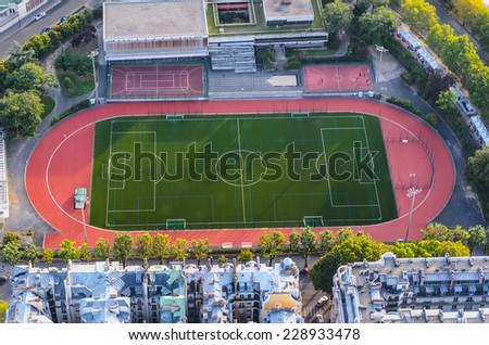Outdoors sports center for practice soccer, athletics, tennis, basketball and other sports - stock photo