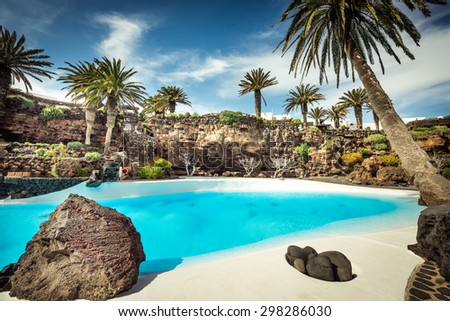 outer Jameos del Agua pool, Lanzarote, Canary Islands, Spain - stock photo