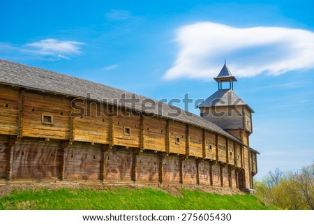 Outer wall of the Baturin Citadel - wooden cossac's fortification. Baturin, Ukraine. - stock photo