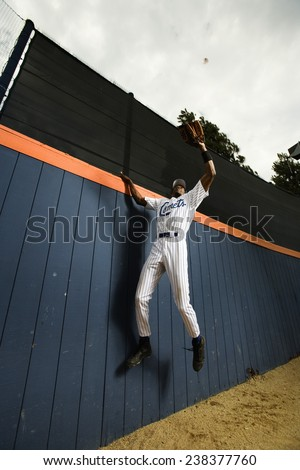 Outfielder Catching Ball - stock photo