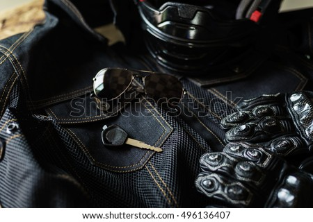Outfit of Biker and accessories, Ready to ride