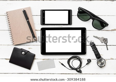 Outfit of business man, Top view photography with essentials business man - stock photo