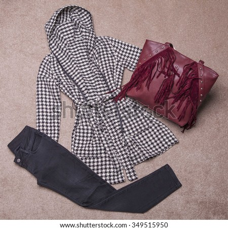 Outfit of casual and modern woman. - stock photo