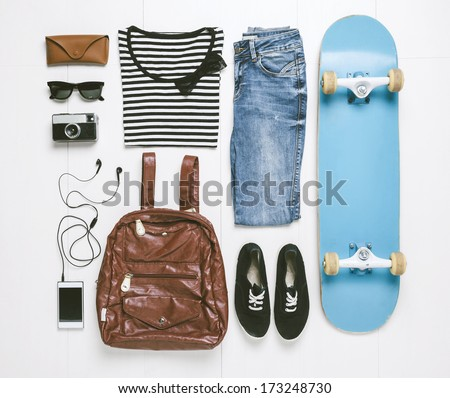 Outfit of casual woman./  Overhead of essentials skater woman.  - stock photo