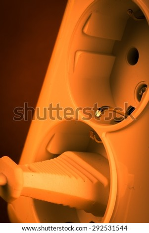 Outlet, Electricity, Electric Plug. - stock photo