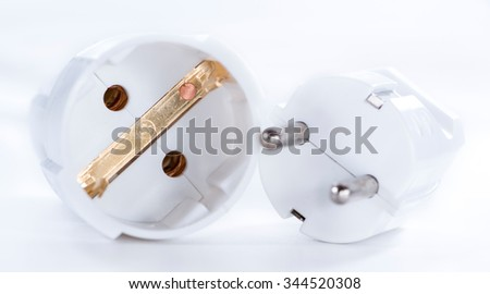 Outlet strip (detailed close-up shot) on white background - stock photo