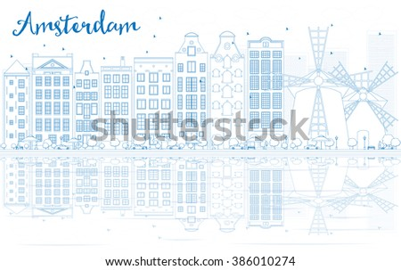 Outline Amsterdam skyline with blue buildings and reflections. Business travel and tourism concept with place for text. Image for presentation, banner, placard and web site. - stock photo