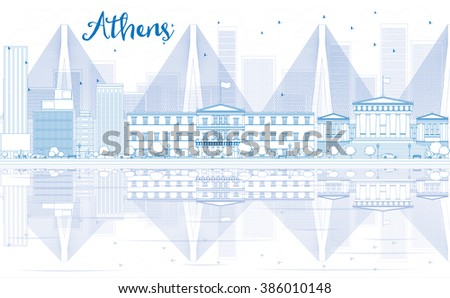 Outline Athens skyline with blue buildings and reflections. Business travel and tourism concept with place for text. Image for presentation, banner, placard and web site. - stock photo