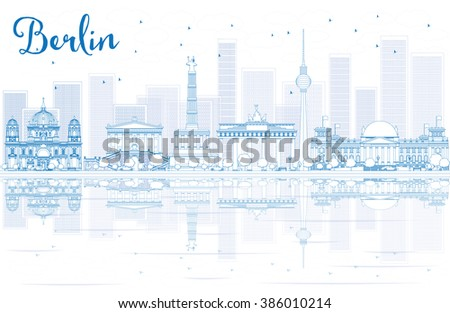 Outline Berlin skyline with blue buildings and reflections. Business travel and tourism concept with place for text. Image for presentation, banner, placard and web site. - stock photo