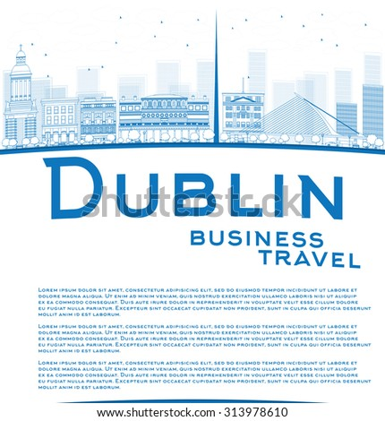 Outline Dublin Skyline with Blue Buildings and copy space. Ireland. Business travel and tourism concept with place for text. Image for presentation, banner, placard and web site. - stock photo