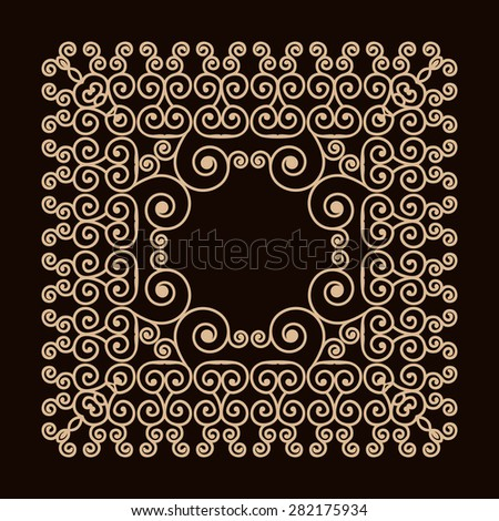 Outline frame with swirls. Mono line graphic design templates. Gold on a dark background. Rasterized version. - stock photo